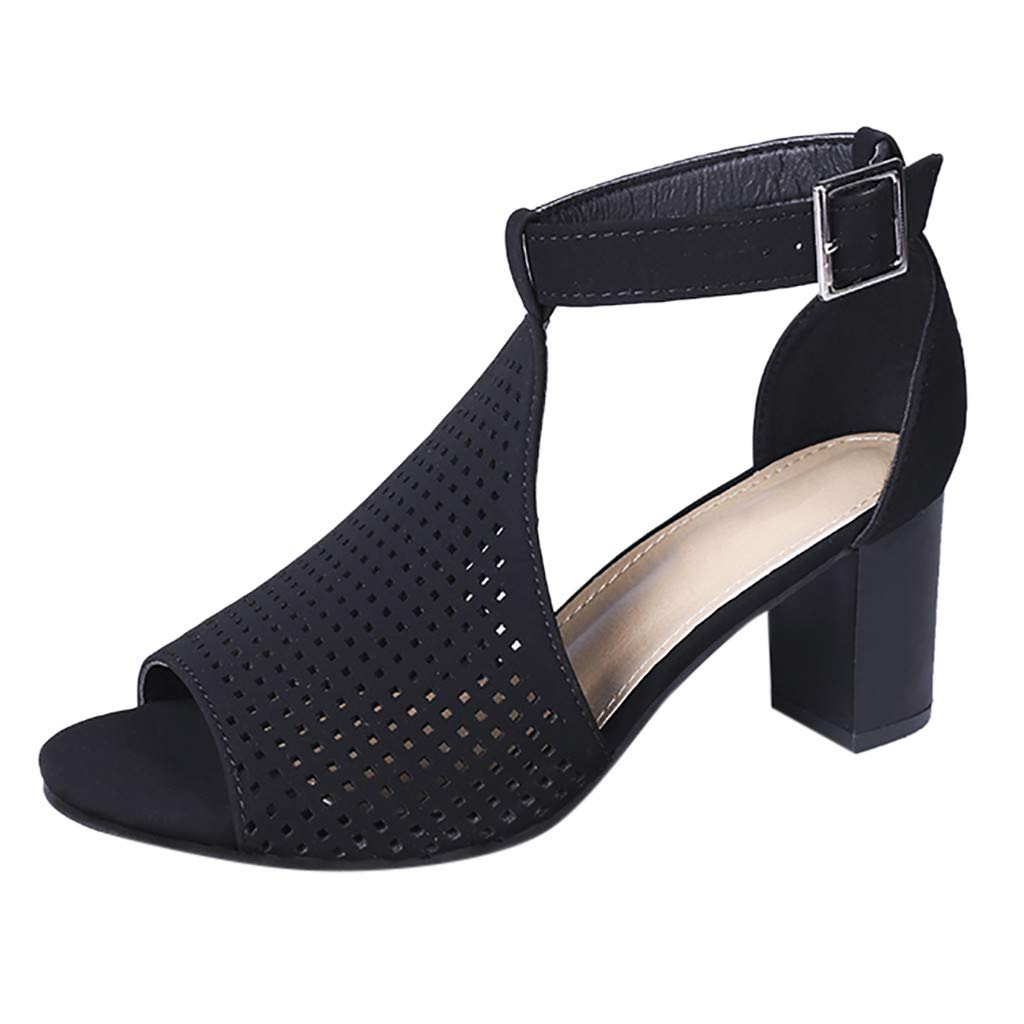 Inverlee Womens Ladies Square Heel Fish Mouth Hollow Out Buckle Roman Shoes Sandals