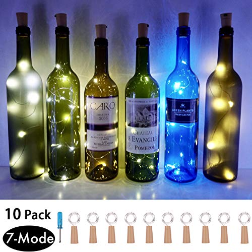 7 Lighting Modes Wine Bottle cork Lights,10 Pack Copper Wire Fairy Lights Battery Operated,LED Stopper Starry String Lights for DIY,Party,Wedding Decor,Christmas Mothers Day Decorations(Cool White)