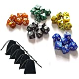 SmartDealsPro 5 x 7-Die Series 5 Colors Symphony Dungeons and Dragons DND RPG MTG Table Games Dice with Free Pouches