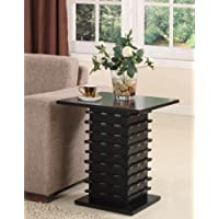 Kings Brand T26-1 Wood Wave Design End Table, Black Finish