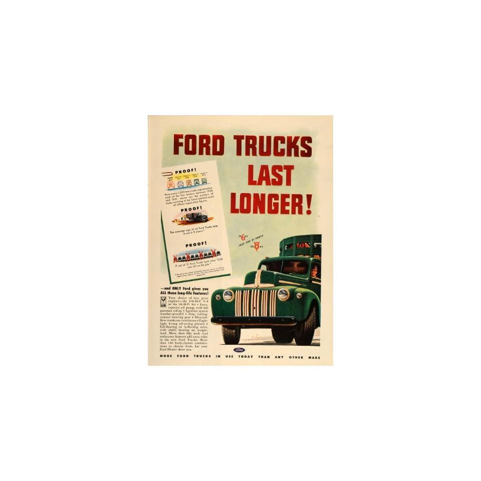 1947 Green Ford Truck Horse Trailer Original Print Ad   Original Print Ad