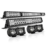 LED Light Bar Kit, Autofeel OSRAM Chips 52 Inch + 22 Inch Flood 32000LM Spot Beam Combo White LED Light Bars + 4PCS 4