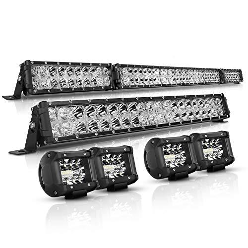 LED Light Bar Kit, Autofeel OSRAM Chips 52 Inch + 22 Inch Flood 32000LM Spot Beam Combo White LED Light Bars + 4PCS 4 LED Light Pods Combo 6000K Fit for Jeep Wrangler Ford Truck Boat