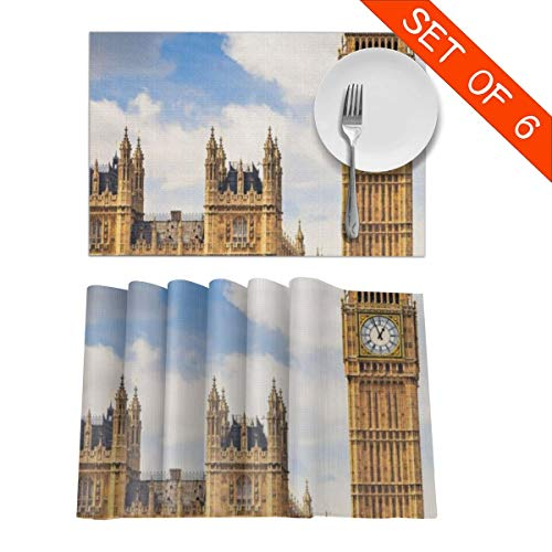 Table Mats,Placemat Set of 6 Non-Slip Washable Place Mats - London BigBen Heat Insulation Stain Resistant Kitchen Dining Table Mats 12x18 in ()