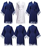 PROGULOVER set of 3-6 Women's Imitation Cotton Wedding Robes for Bride and Bridesmaid Wedding Party Kimono Robes short