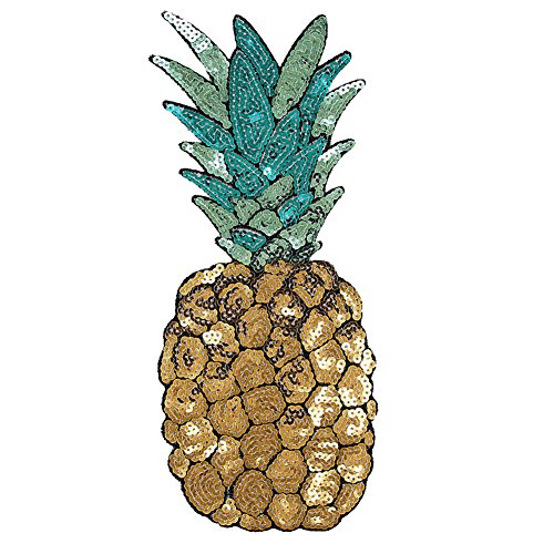 Pineapple Embroidered Iron on Patch Sequins DIY Clothes Applique Sticker Badge -