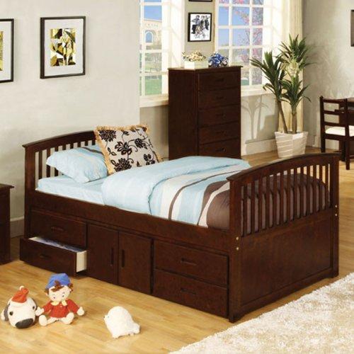 Caballero Storage Unit Dark Walnut Twin Size Bed by 247SHOPATHOME