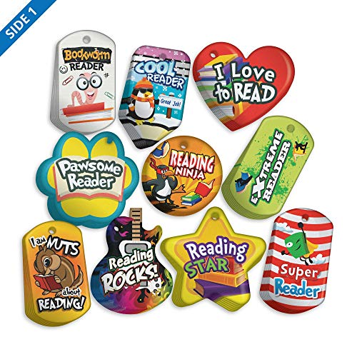 Student Reading Incentives Brag Tag Value Pack: 100 Tags (10 Tags for Each Shape)