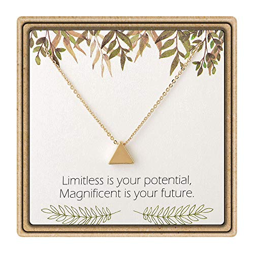 IEFLIFE Graduation Gifts for Her - Tiny Triangle Charm Necklace Inspirational Necklace with Message Card Graduation Gifts]()