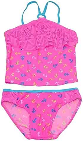 15cd51c466 Real Love Little Girls Pink Anchor Print Overlay 2 Pc Tankini Swimsuit 4-6X