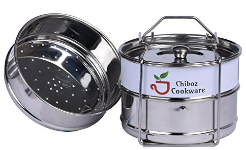 3 Stackable Stainless Steel Insert Pans 2 Cook Pans + 1 Steamer Pan with a Sling Handle – Instant Pot Accessories 6 qt & 8 quart by Chiboz Cookware