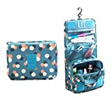 Waterproof Travel Cosmetic Bag Anbo Kit Organizer Bathroom Storage Carry Case Toiletry Bag with Hanging Hook (Blue Flowers)