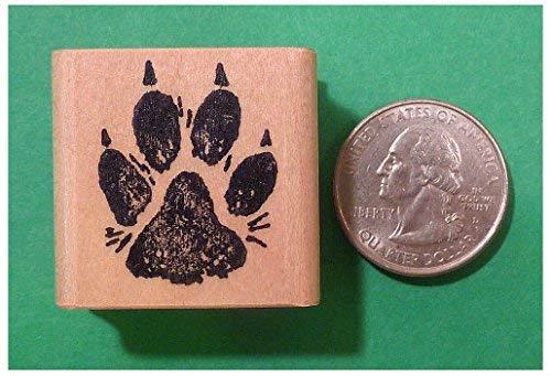 (Dog Paw Print Rubber Stamp, Regular Size, Wood Mounted)