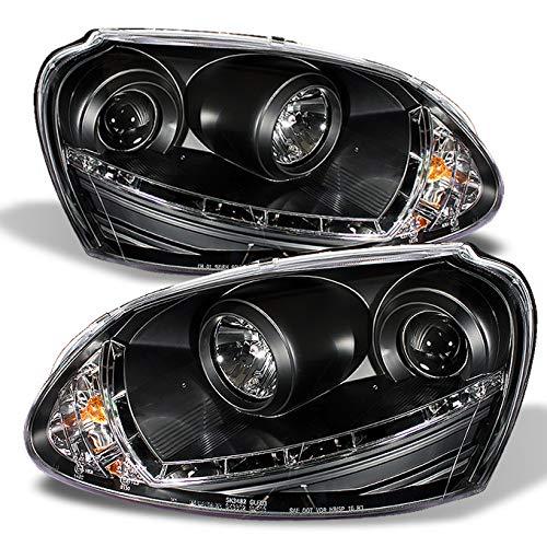 For Volkswagen Rabbit GTI Jetta R32 Black Bezel DRL Daylight LED Strip Halogen Type Projector Headlights ()