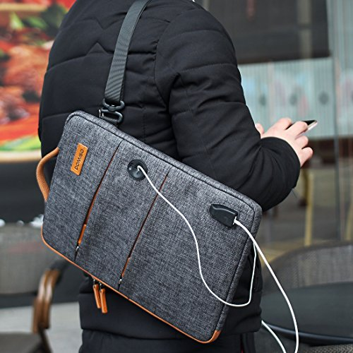 DOMISO 13 Inch Multi-Functional Laptop Sleeve Business Briefcase Messenger Bag with USB Charging Port for 12-13 Inch Laptop 12.9 iPad Pro//ASUS//Acer//Lenovo//HP Dark Grey 13 MacBook Pro