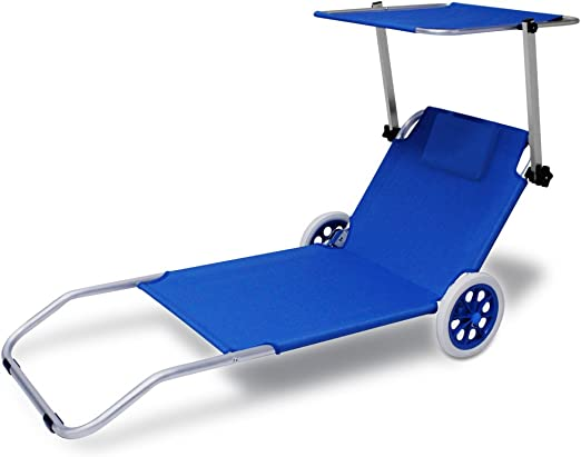 Deuba Tumbona de jardín de Aluminio Creta con 2 Ruedas Techo Plegable 150x52cm de Playa terraza Patio Camping fácil Transporte: Amazon.es: Jardín
