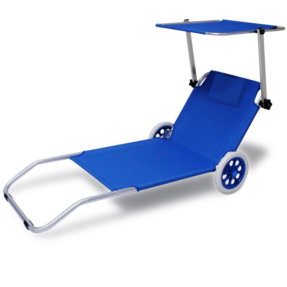 Chaise longue CRÊTE - bain de soleil plage en aluminium avec pare soleil - Bleue