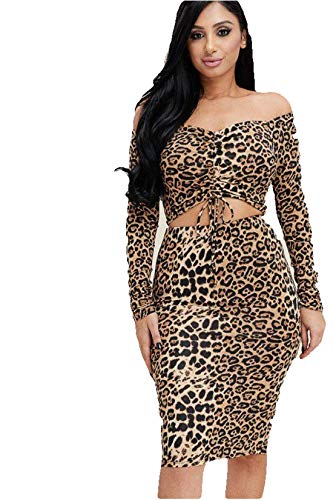 t Dress Sexy Long Sleeve Off The Shoulder Tie Front Dress Top and Skirt Two Piece Outfit Set (Small, Leopard Print) ()