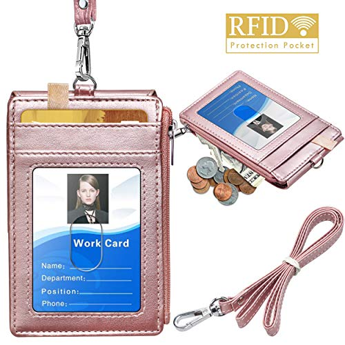 "Badge Holder with Zipper, ELV PU Leather ID Badge Card Holder Wallet with 5 Card Slots, 1 Side RFID Blocking Pocket and 20"" Neck Lanyard/Strap for Offices ID, School ID, Driver Licence (Rose Gold)"