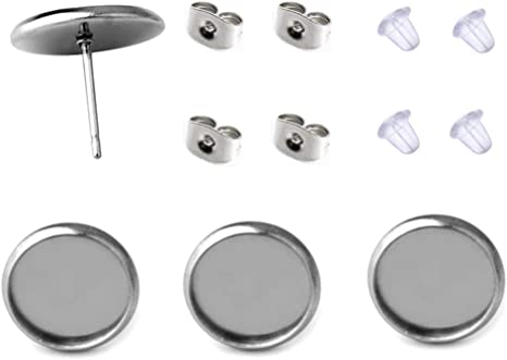 fit for 8mm 40 Pcs Stainless Steel Stud Earring Cabochon Setting Post Cup Fit for 8mm,80 Pcs Earring Backs