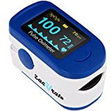 Zacurate® 500B Deluxe Fingertip Pulse Oximeter Blood Oxygen Saturation Monitor with batteries and lanyard included (Navy Blue)