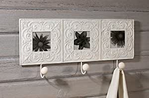Ivory Embossed Tin Tile Triple Picture Frame with Wall Hooks