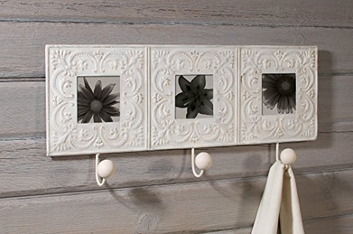 (Ivory Embossed Tin Tile Triple Picture Frame with Wall Hooks)