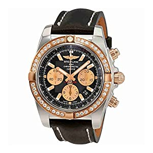 Breitling Chronomat 44 Automatic Black Dial Chronograph Diamond Mens Watch CB011053-B968BKLST