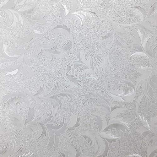 """Leaf Pattern Window Film Privacy No Residue Roll - Peel And Stick Indoor Outdoor Decorative Home Bathroom Shower Living Room Business Office Meeting Room Glass Door Film Decor (.3, 35"""" x 78"""")"""