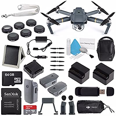 DJI Mavic Pro (Fly More Combo) CP.PT.000642 + DJI Power Bank Adapter for Mavic Intelligent Flight Battery CP.PT.000558 + DJI Aircraft Sleeve for Mavic Pro Quadcopter CP.PT.000666 Bundle