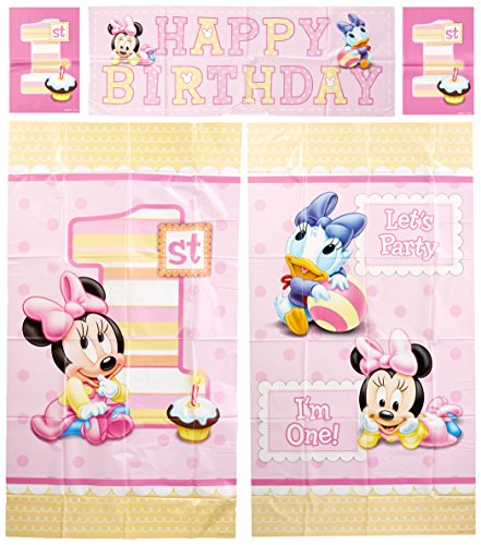 Amscan Disney Baby Minnie Mouse 1st Birthday Scene Setters Wall Decorating Kit, Large, Pink -
