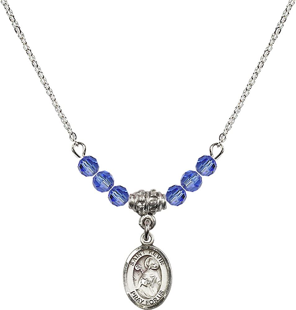 18-Inch Rhodium Plated Necklace with 4mm Sapphire Birthstone Beads and Sterling Silver Saint Kevin Charm.
