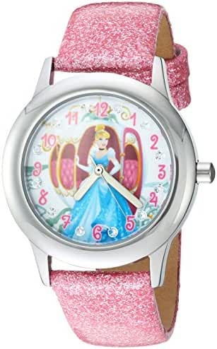 Disney Girl's 'Cinderella' Quartz Stainless Steel Casual Watch, Color:Pink (Model: W003260)