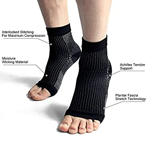 Plantar Fasciitis Socks, Beauty Star 2 Pairs Compression Foot Sleeves Ankle Arch Support Socks Pain Relief, Improved Circulation, Recovery, Ideal for Runners(Black, Size S/M)
