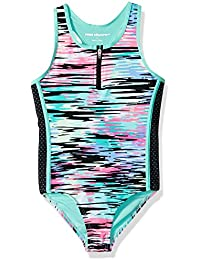 Big Girls' Wave One Piece With Mesh and Zip Front