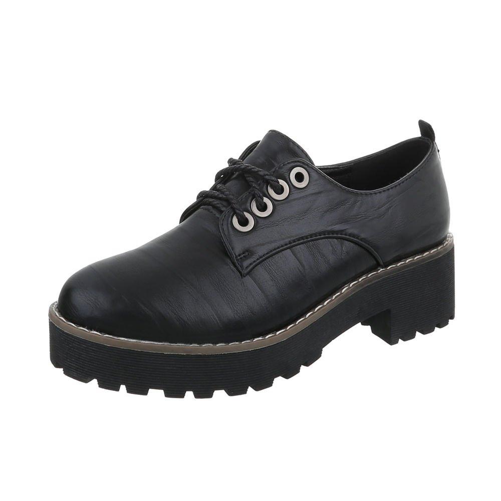 TALLA 39 EU. Ital-Design Zapatos para Mujer Mocasines Tacón Ancho Zapatos con Cordones