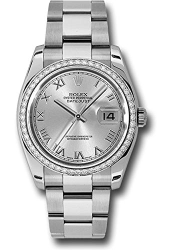 Rolex Datejust 36mm Stainless Steel Case, 18K White Gold Bezel Set With 52 Brilliant-Cut Diamonds, Silver Dial, Roman Numerals, And Stainless Steel Oyster Bracelet.