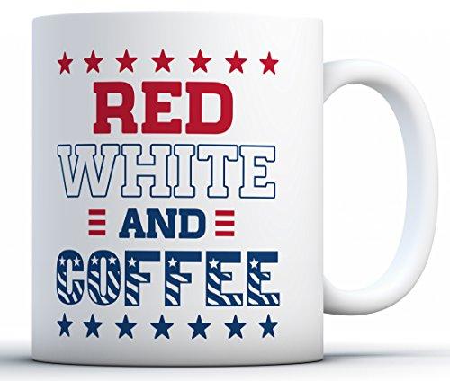 Awkward Styles Red White Coffee Mugs Cute USA Mugs Proud Funny 4th of July Gifts White 11 oz ()
