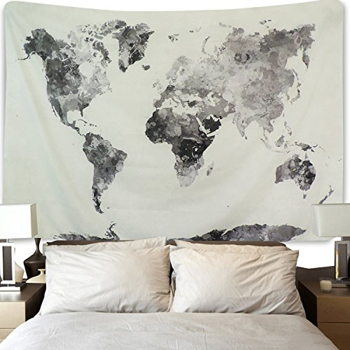 Used, BLEUM CADE Icejazz Watercolor World Map Tapestry Multi for sale  Delivered anywhere in USA
