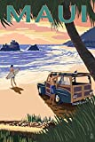 Maui, Hawaii - Woody and Beach (24x36 SIGNED Print Master Giclee Print w/ Certificate of Authenticity - Wall Decor Travel Poster)