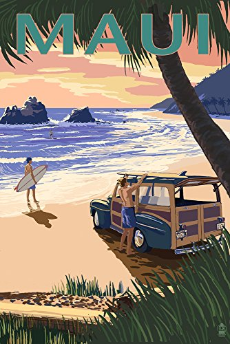Maui, Hawaii - Woody and Beach (24x36 SIGNED Print Master Giclee Print w/ Certificate of Authenticity - Wall Decor Travel Poster) by Lantern Press