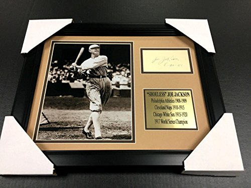 Autographed Joe Jackson (MLB) Photo - SHOELESS Cut REPRINT Framed 8x10 BLACK - Autographed MLB Photos (Shoeless Joe Jackson Framed Photo)