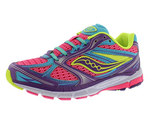 Price comparison product image Saucony Guide 8 Girl's Running Shoes Size US 7, Regular Width, Color Fuchsia/Purple/Yellow