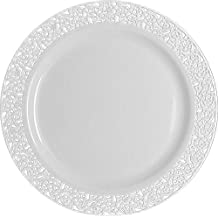 Table To Go 'I Can't Believe It's Plastic' 200-Piece Plastic Dinner Plate Set | Lace Collection | Heavy Duty Premium Plastic Plates for Wedding, Parties, Camping & More (White)