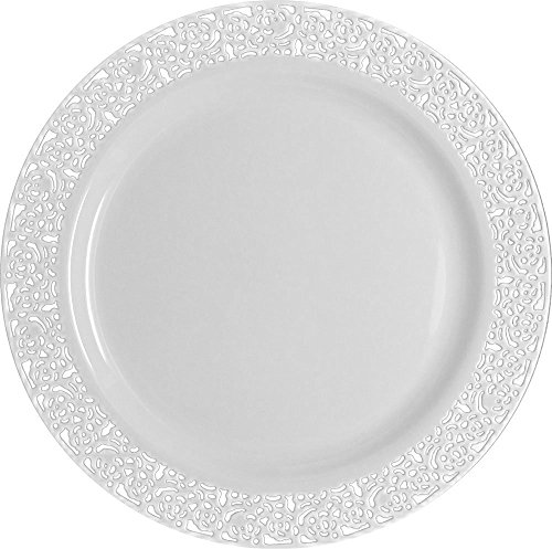 Table To Go 'I Can't Believe It's Plastic' 50-Piece Plastic Dinner Plate Set | Lace Collection | Heavy Duty Premium Plastic Plates for Wedding, Parties, Camping & More (White)
