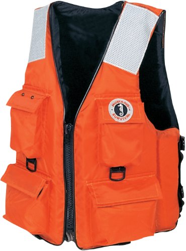 Mustang Classic Industrial PFD with 4 Pockets, Orange, Large