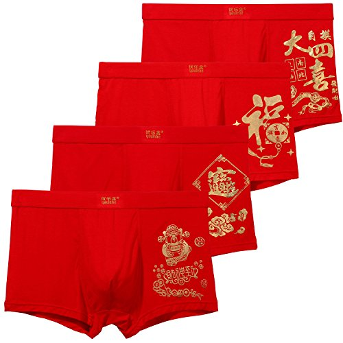 Designer Boxer Briefs - YOULEHE Men's Underwear Soft Bamboo Boxer Briefs Stretch Trunks Pack (Small, Lucky Red 02)