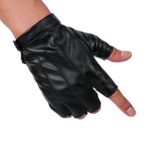 JISEN Men PU Leather Punk Half Finger Snap Performance Gloves Black ()