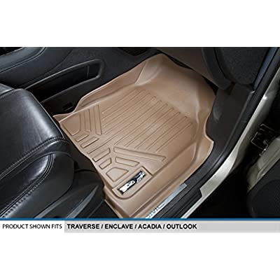 SMARTLINER Floor Mats 3 Row Liner Set Tan for Traverse/Enclave / Acadia/Outlook with 2nd Row Bucket Seats: Automotive