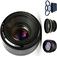 Canon 50mm 1.8 II Lens + 4pc Macro Lenses Set (+1 +2 +4 +10) + High Definition Wide Angle Auxiliary Lens + High Definition Telephoto Auxiliary Lens